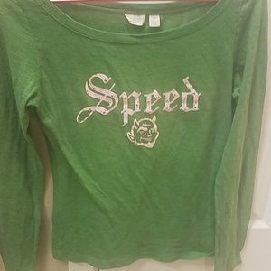 AEO》Speed demon top green pink small long sleeve